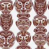 Seamless pattern with collection of Tribal mask. Royalty Free Stock Photo