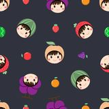 Seamless pattern with collection of woman is wearing a fruit hat on her head and set of fruit on dark background, vector royalty free illustration