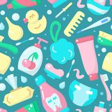 Seamless pattern with color baby hygiene accessories in flat style. Suitable for wallpaper, wrapping or textile stock illustration