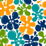 Seamless pattern of color blots with smile face Stock Photos