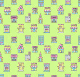 Seamless pattern with color buildings Royalty Free Stock Image