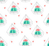 Seamless pattern with color cactus in terrarium and hearts on white background. Ornament for textile and wrapping. Vector Stock Photography