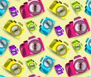 Seamless pattern with color cameras. Vector illustration Royalty Free Stock Photography
