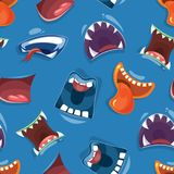 Seamless pattern with color cartoon monster mouths. Background. Vector illustration royalty free illustration