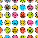 Seamless pattern with color emoticons, characters icons Stock Image