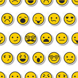 Seamless pattern with color emoticons, characters icons Royalty Free Stock Photo