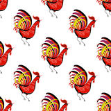 Seamless pattern with color fire cock looking at right. Chinese Royalty Free Stock Images