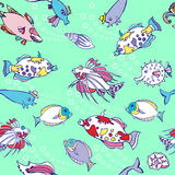 Seamless pattern  with color fishes and bubbles Royalty Free Stock Images
