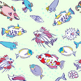 Seamless pattern  with color fishes and bubbles Royalty Free Stock Photos