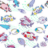 Seamless pattern  with color fishes and bubbles Royalty Free Stock Photography