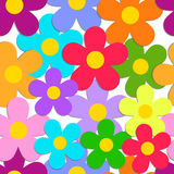 Seamless pattern with color flowers isolated on white. Vector EP Stock Images