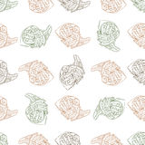Seamless pattern color french fries scetch Royalty Free Stock Photos
