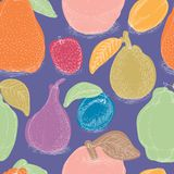 Seamless Pattern with Ripe Fruits Mix. Seamless Pattern with Color Fruit Mix on a Violet Background Royalty Free Stock Photography