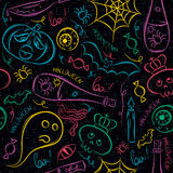 Seamless Pattern with color Halloween ghost, skull and  pumpkin Stock Photos