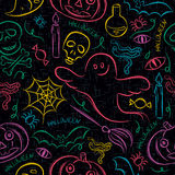 Seamless Pattern with color Halloween ghost, skull and  pumpkin Stock Photo