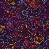 Seamless Pattern with color Halloween ghost, skull and spider Royalty Free Stock Image