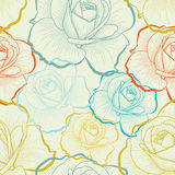 Seamless pattern with color hand drawing roses. Color seamless pattern with hand drawing roses Stock Photo
