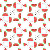 Seamless pattern of color hand drawn watermelons Stock Image