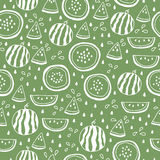 Seamless pattern of color hand drawn watermelons Royalty Free Stock Photography