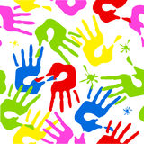 Seamless pattern with color hands Royalty Free Stock Images