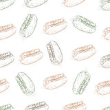 Seamless pattern color hot dog scetch Stock Images
