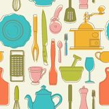 Seamless pattern with color kitchen utensils. Vector illustration. stock illustration
