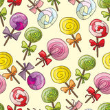 Seamless pattern with color lollipops Stock Photography