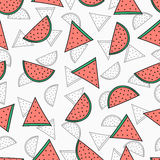 Seamless pattern with color and monochrome watermelons Royalty Free Stock Photo