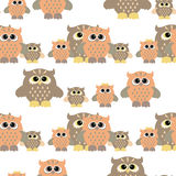 Seamless pattern with color owl Stock Photo