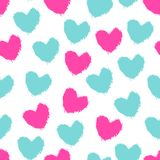 Seamless pattern color painted hearts stock illustration