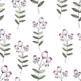 Seamless pattern color pencil hand drawn flower. Royalty Free Stock Photography