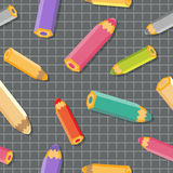 Seamless pattern with color pencils. School background. Stock Images