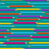Seamless pattern with color pencils Royalty Free Stock Images