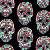 Seamless pattern with color skulls and black background Stock Photography