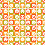 Seamless pattern of color smile, different emotions Stock Photos