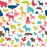 Seamless pattern with colored animals silhouettes. Royalty Free Stock Photos