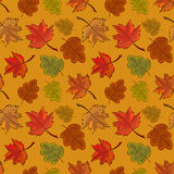 Seamless pattern with colored autumn leaves Stock Photo