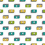 Seamless pattern with colored banknotes Stock Images
