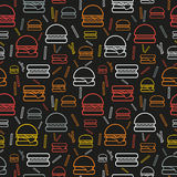 Seamless pattern of colored burgers and fries on grey background Royalty Free Stock Image