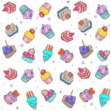 Seamless pattern of colored cakes Stock Images