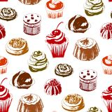 Seamless pattern with colored cakes. Vector illustration. Seamless pattern of colored graphic pastries on a white background Stock Images
