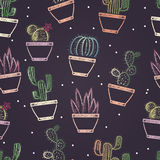 Seamless pattern of colored chalk painted different cacti in pots. Plants theme. Stock Photo