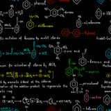 Seamless pattern with colored chemical formulas. Chemical seamless pattern consisting of colorful chemicals formulas. Eps file is available Royalty Free Stock Photo