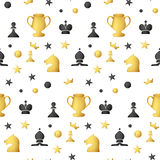 Seamless pattern of colored chess pieces on a white background Stock Photos