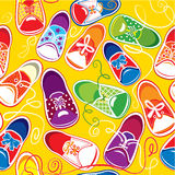 Seamless pattern - colored children gumshoes Vector Illustration