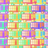 Seamless pattern colored children with no gaps buses. vector  Royalty Free Stock Image