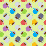 Seamless pattern with the colored coffee mugs. The layout is fully editable Stock Image