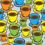 Seamless pattern colored cup of coffee Royalty Free Stock Image