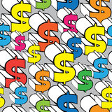 Seamless pattern colored dollar sign Stock Image