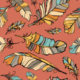 Seamless pattern of colored feathers Royalty Free Stock Image